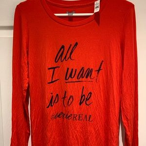 Aerie Long sleeve Red Sleepwear Shirt NWT